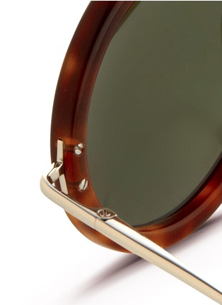 Detail View - Click To Enlarge - The Row - x Linda Farrow wire temple round tortoiseshell acetate sunglasses