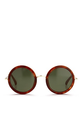 Main View - Click To Enlarge - The Row - x Linda Farrow wire temple round tortoiseshell acetate sunglasses