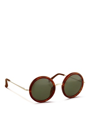 Figure View - Click To Enlarge - The Row - x Linda Farrow wire temple round tortoiseshell acetate sunglasses