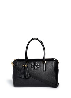 TORY BURCH 'Thea' tassle pebbled leather satchel