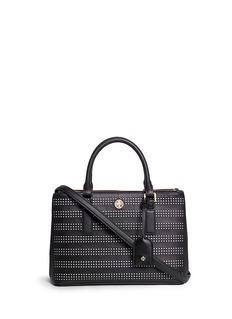 TORY BURCH 'Robinson' mini perforated saffiano leather tote