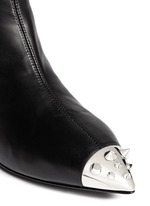 Stud toe cap leather ankle boots