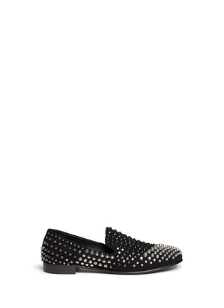 Main View - Click To Enlarge - Giuseppe Zanotti Design - Multi stud suede slip-ons