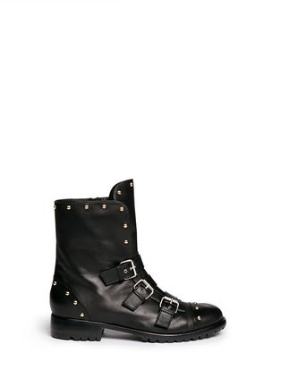 Main View - Click To Enlarge - Giuseppe Zanotti Design - 'Morrison' stud buckle leather boots