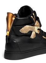 'London' metal eagle leather sneakers