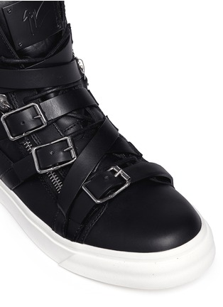 Detail View - Click To Enlarge - Giuseppe Zanotti Design - 'London' buckle strap high top sneakers