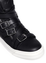 'London' buckle strap high top sneakers