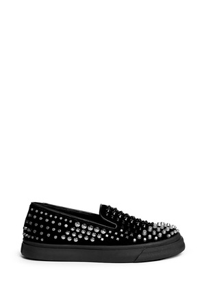 Main View - Click To Enlarge - Giuseppe Zanotti Design - 'Camoscio' multi stud suede slip-ons
