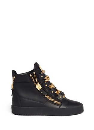 Main View - Click To Enlarge - Giuseppe Zanotti Design - 'London' curb chain leather sneakers