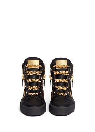 Figure View - Click To Enlarge - Giuseppe Zanotti Design - 'London' curb chain leather sneakers