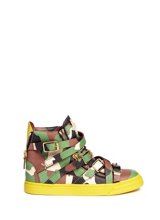 Main View - Click To Enlarge - Giuseppe Zanotti Design - 'Farwest' camo print multi buckle leather sneakers