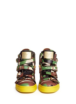 Figure View - Click To Enlarge - Giuseppe Zanotti Design - 'Farwest' camo print multi buckle leather sneakers