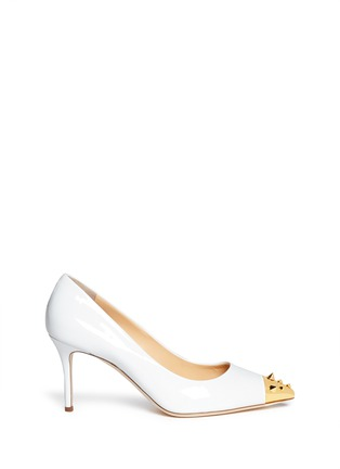 Main View - Click To Enlarge - Giuseppe Zanotti Design - 'Yvette' stud toe cap patent leather pumps