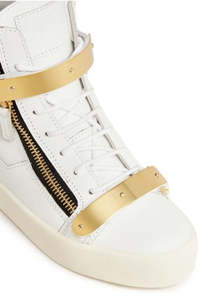Detail View - Click To Enlarge - Giuseppe Zanotti Design - 'London' metal plate leather sneakers