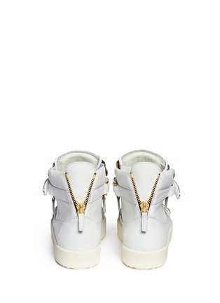 Back View - Click To Enlarge - Giuseppe Zanotti Design - 'London' metal plate leather sneakers