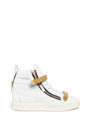 Main View - Click To Enlarge - Giuseppe Zanotti Design - 'London' metal plate leather sneakers