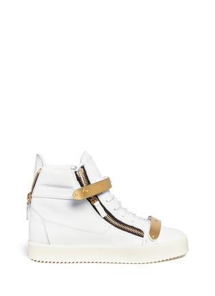 首图 - 点击放大 - GIUSEPPE ZANOTTI DESIGN - 金属拼贴真皮运动鞋