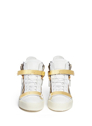 Figure View - Click To Enlarge - Giuseppe Zanotti Design - 'London' metal plate leather sneakers