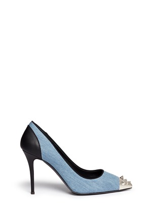 Main View - Click To Enlarge - Giuseppe Zanotti Design - Stud toe denim pumps