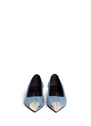 模特示范图 - 点击放大 - GIUSEPPE ZANOTTI DESIGN - 金属铆钉牛仔尖头平底鞋