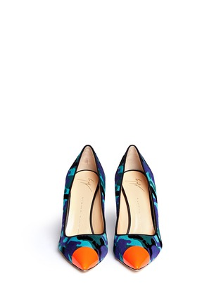 Figure View - Click To Enlarge - Giuseppe Zanotti Design - 'Yvette' neon toe cap camouflage ponyhair pumps