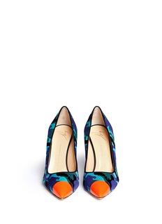 GIUSEPPE ZANOTTI DESIGN'Yvette' neon toe cap camouflage ponyhair pumps