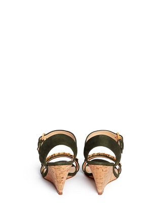 Giuseppe Zanotti Design - 'Coline' curb chain cork wedge suede sandals