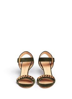 GIUSEPPE ZANOTTI DESIGN'Coline' curb chain cork wedge suede sandals