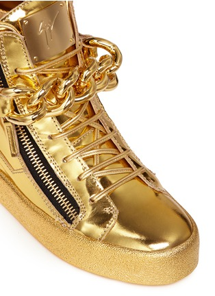 Detail View - Click To Enlarge - Giuseppe Zanotti Design - 'London' chain mirror leather sneakers