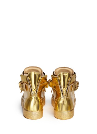 Back View - Click To Enlarge - Giuseppe Zanotti Design - 'London' chain mirror leather sneakers