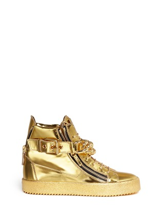 Main View - Click To Enlarge - Giuseppe Zanotti Design - 'London' chain mirror leather sneakers