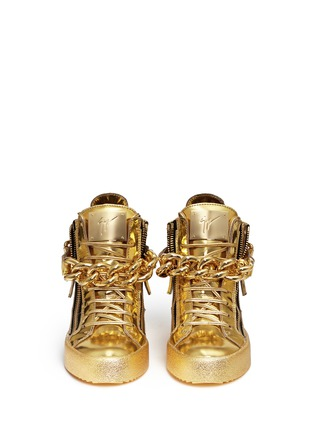 Figure View - Click To Enlarge - Giuseppe Zanotti Design - 'London' chain mirror leather sneakers
