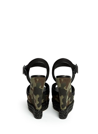 Back View - Click To Enlarge - Giuseppe Zanotti Design - Camouflage canvas wedge sandals