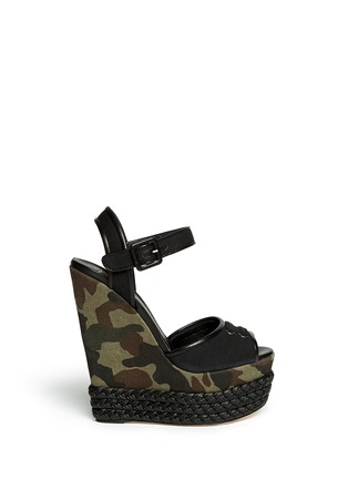 Main View - Click To Enlarge - Giuseppe Zanotti Design - Camouflage canvas wedge sandals