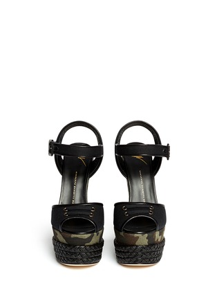 Figure View - Click To Enlarge - Giuseppe Zanotti Design - Camouflage canvas wedge sandals