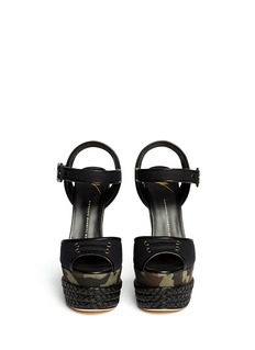 GIUSEPPE ZANOTTI DESIGN Camouflage canvas wedge sandals