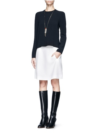 Figure View - Click To Enlarge - Chloé - Round neck crepe top