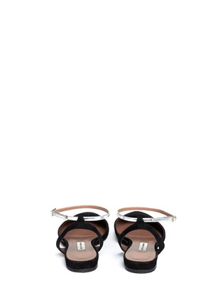 Back View - Click To Enlarge - TABITHA SIMMONS - 'Vera' metallic strap suede flat sandals