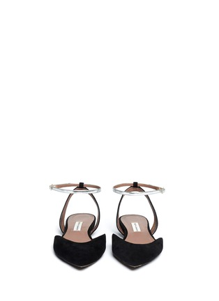 Figure View - Click To Enlarge - TABITHA SIMMONS - 'Vera' metallic strap suede flat sandals