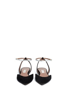 TABITHA SIMMONS 'Vera' metallic strap suede flat sandals