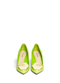 NICHOLAS KIRKWOOD Hexagon plexiglas jewel raffia pumps