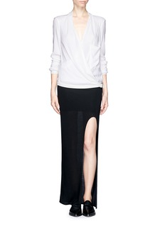 HELMUT LANG Leather trim wrap front blouse