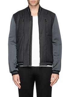 LANVINSatin sleeve flannel varsity jacket