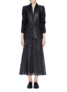 HELMUT LANG Ink leather wool combo blazer