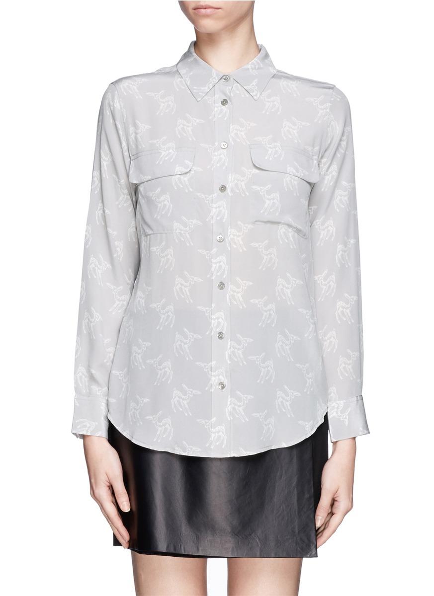 equipment bambi print silk shirt on sale grey