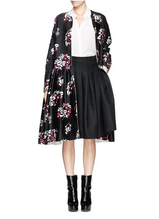 Detail View - Click To Enlarge - Ms MIN - Oversized floral print wool-cashmere coat