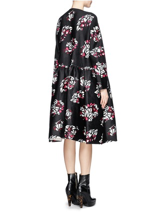 Back View - Click To Enlarge - Ms MIN - Oversized floral print wool-cashmere coat