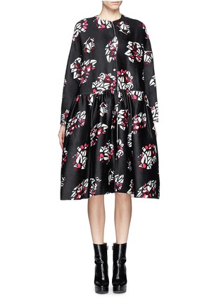 Main View - Click To Enlarge - Ms MIN - Oversized floral print wool-cashmere coat