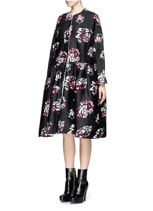 Figure View - Click To Enlarge - Ms MIN - Oversized floral print wool-cashmere coat