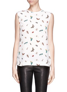 EQUIPMENT Insect print silk tank top